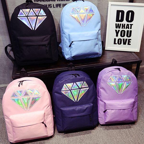 top popular Women Waterproof Canvas Laser Backpack Holographic Silver Diamond Design Girls Waterproof School Bags Laptop Travel Bag 2019
