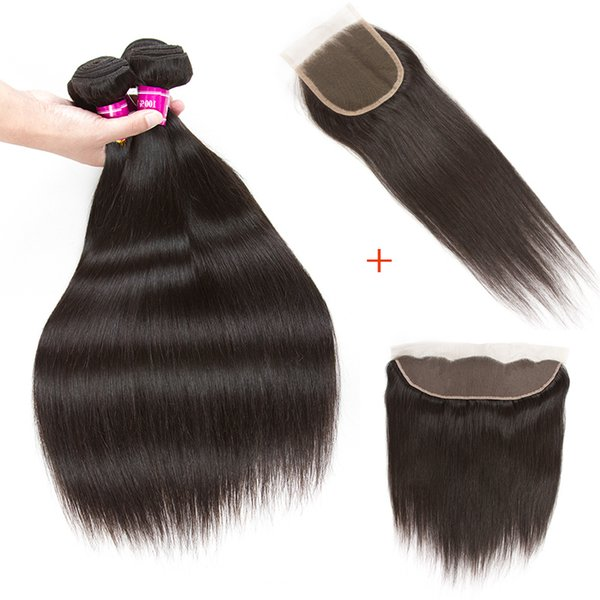 10A Straight Brazilian Virgin Human Hair Weaves With Closure Unprocessed Brazilian Remy Human Hair Bundles And Lace Closures Extensions