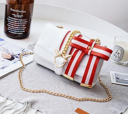 sales brand women bag sweet and lovely ribbon bow women shoulder bag contrast color leather slung shoulder bags fashion chain swallow bag