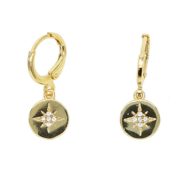 Moda chique brincos círculo drop paillette pave estrela hexgram minúsculo cz orelha criativa jewelrys cor do ouro do vintage mulheres brinco novo