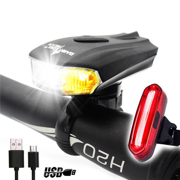 K2 Ultra Brilhante Bicicleta Luz Frente E Verso USB Carga LED À Prova D 'Água Da Bicicleta Farol E Cauda Luz Set Com Sentido Inteligente