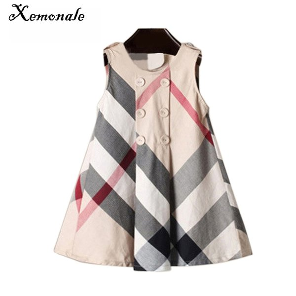 Xemonale Summer Girls Dress 2018 England Style Kids Princess Dress Plaid Vest Sundress Cotton Casual Toddler Girl Kids Clothes