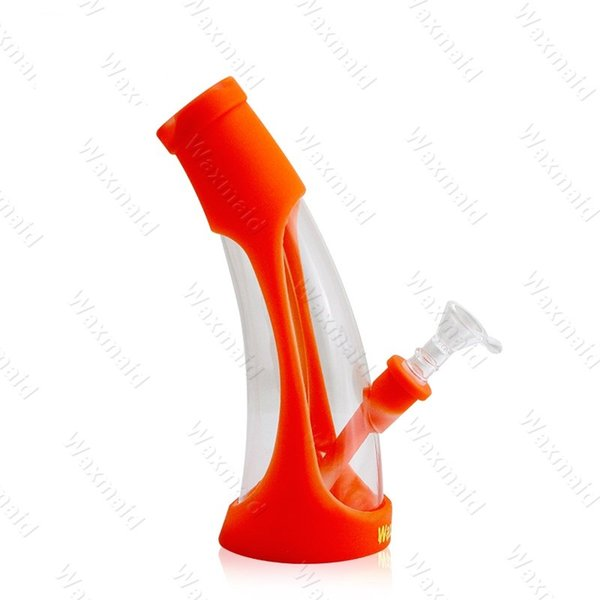 Silicone Dab Rigs FDA Silicone + Glass Water Bongs Waxmaid New Beaker Bongs 11 colors For Choose With Bowl Factory Outlet DHL Free Shipping
