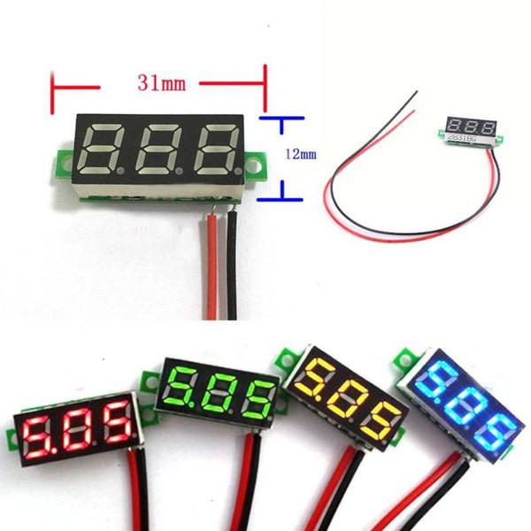 DC 0-30 в 2 провода светодиодный дисплей цифровой вольтметр напряжения панели автомобиля мотоцикл зеленый вольтметр электрические приборы