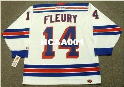 Mens # 14 THEOREN FLEURY Nova Iorque Rangers 2001 CCM Retro Home Hockey Jersey ou personalizado qualquer nome ou número retro Jersey