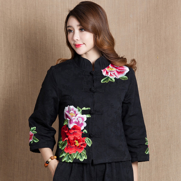 Autumn Chinese Female cotton linen Tang Suit style Tops Vintage embroidered flower Women's Jackets Traditional Chinese Clothing