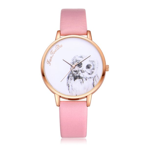 Female New Fashion 2018 watch for woman Leather Band Analog Quartz Round Wrist Watches in Ten Colour Dropshipping