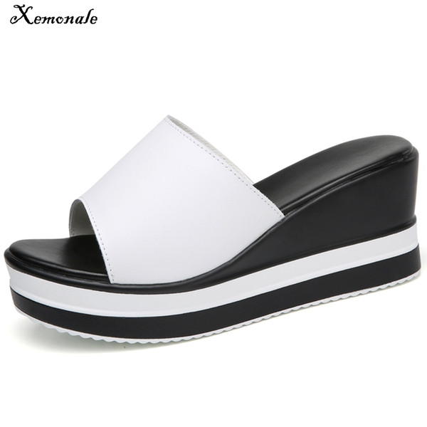 Xemonale Women Slippers Mules Shoes Genuine Leather Peep Toe Sandals Women Beach Slides Outside Ladies Wedge Platform Summer