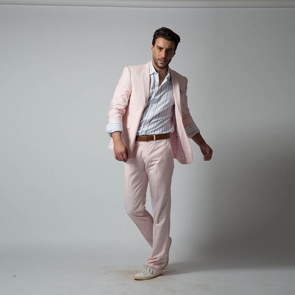 2018 latest coat pant designs casual light pink men suits male blazer for wedding prom simple elegant men's jacket 2 pieces