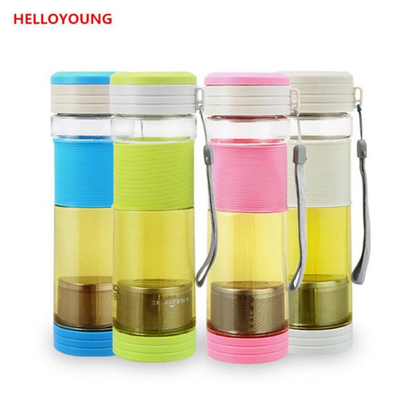 Promozione NUOVO sano portatile Viaggi Sport Tea Acqua Seal bottiglia 550ml bottiglia di corsa Con Bottiglie guarnizione del filtro colino da tè grigio