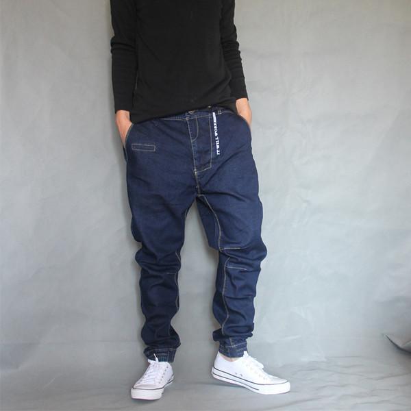Japan Style Harem Jeans Men Denim Hip Hop Pants Loose Baggy Jeans Trousers Slight Elastic Large Size 28-36