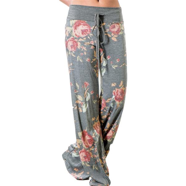 Çiçek Baskılı Yüksek Bel Geniş Bacak Pantolon Kadın Rahat Uzun Pantolon Bahar Yaz Plaj Gevşek Pantolon