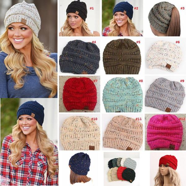 Women Cc Ponytail Beanie Hat Crochet Knit Winter Skullies Beanies