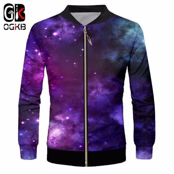 OKGB Hommes Baseball Vestes Avec Col Imprimer Violet Galaxy Space Planet 3D Zip Veste Mâle À Manches Longues Sweats Uniformes Manteaux