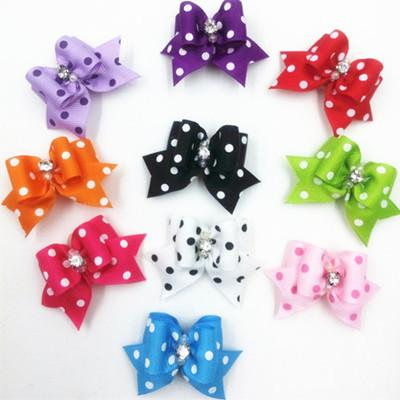 4*2cm Fabric Dots Bowtie Dog Hair Accessories Pet Hair Bows Grooming Gift Products Cute Dog Ornaments Supplies