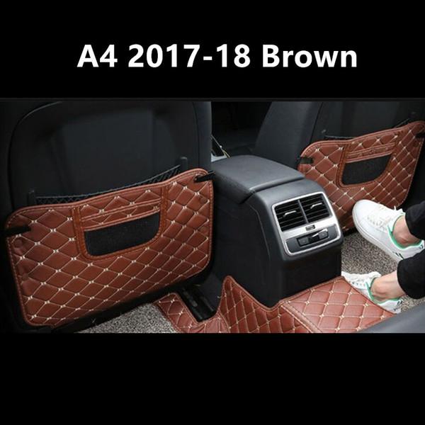 Leather Car Seat Back Anti-Kick Mat Protection Pad Trim 2pcs For Audi A4 B9 2017 2018 Auto Interior Anti Dirty Mat