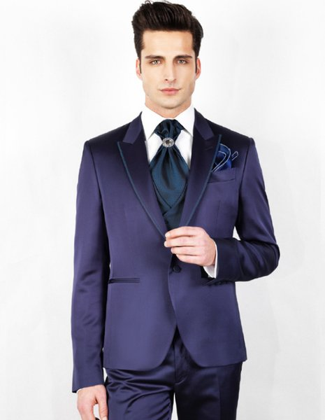Modern New Designer Men Business Suits Solid Colour Purple Peaked Lapel Trim Fit Formal Wedding Dress Skinny British Style Tuxedos Mens