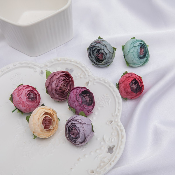best selling Mini Artificial Tea Rose Bud small peony Camellia Flores flower head for wedding ball decoration DIY Craft gifts For party decoration