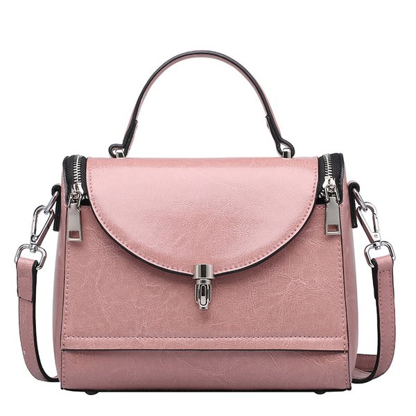 2018 Fashion New Genuine Leather Female Top-handle Handbag Wax Oil Cowhide Women Satchel Shoulder Crossbody Multifunction Bag