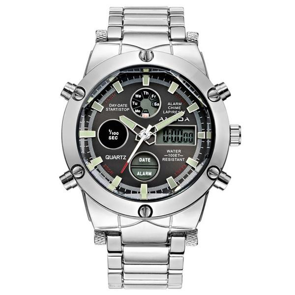 2018 Mens Golden Sport Watch Led Gold Big Face Quartz-Watch Men Fashion Wrist Watch Male Watches Clock relogio masculino