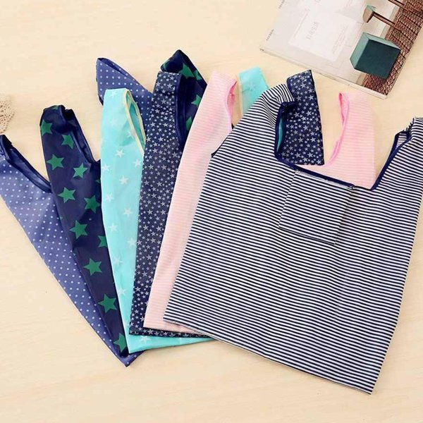 Eco friendly Foldable Shopping Bag Nylon Fabric Reusable Food Grocery Organizer Market Bags Tote Environment Handbags