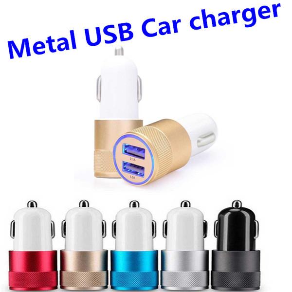 Métal Dual USB Port Chargeur De Voiture Universel 12 Volt / 1 ~ 2 Ampères pour Samsung Galaxy / LG / HTC / Motorola DHL Gratuit