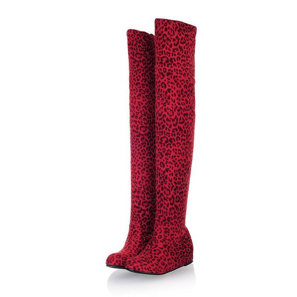 Sexy Leopard Women Sock Boots Slip On Over the Knee Boots Stretch Women Pumps Height Increasing Long Boots For Women ADF-8217