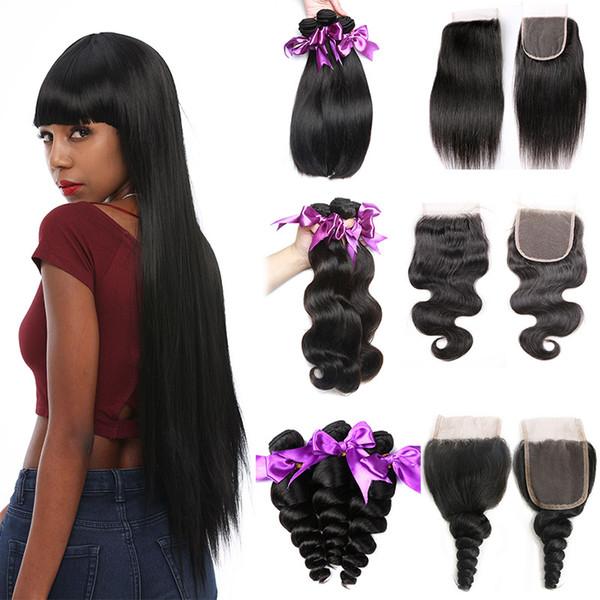 Body Wave/Deep Wave/Loose/Curly/Straight Brazilian Human Hair Bundles with Closure Brazilian Virgin Hair Weave Bundles with Lace Closure