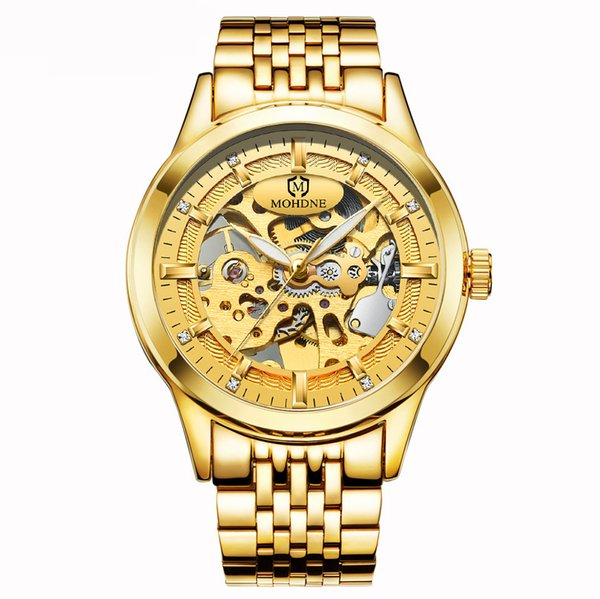Relogio Business Classic Golden Skeleton Mechanical Watch Men Stainless Steel Strap Top  Drop Shipping Wholesale