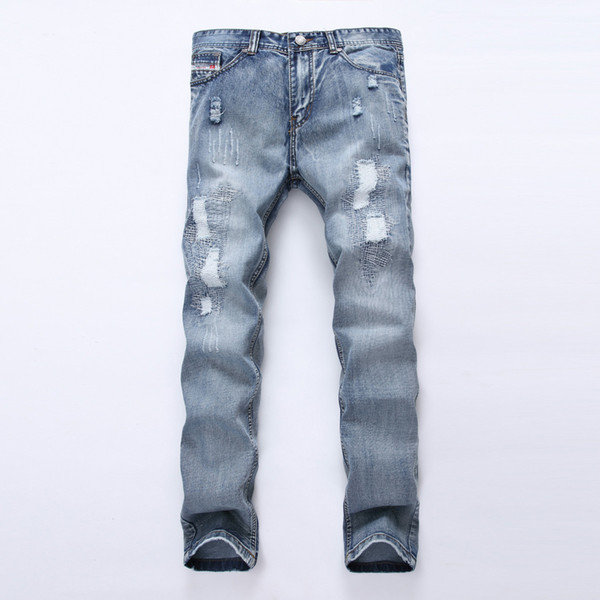 New Style Men's Jeans Blue Holes Jean Male Hip Hop Strech Cowboy Cotton Skinny Ripped Jeans for Men Trousers Male Pants