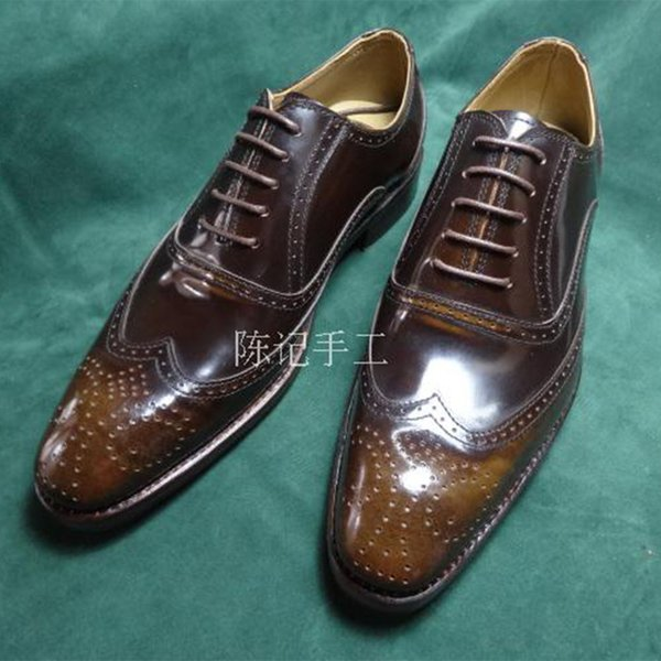 Sipriks Mens Genuine Leather Brown Carved Brogue Oxfords Square Toe Wingtip Dress Shoes Boss Business Work Party Social Elevator