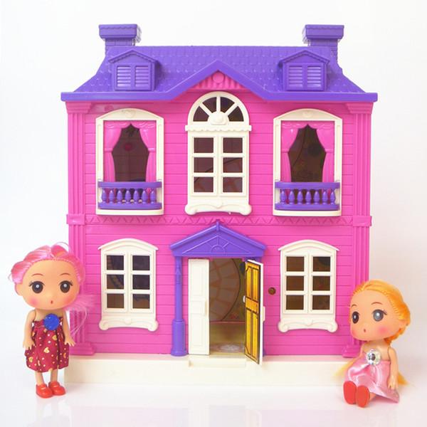 Casas de bonecas brinquedos felizes tema da família villa casa princesa casa sala de brinquedo terno com luz música Kits de Móveis menina criança boneca presente