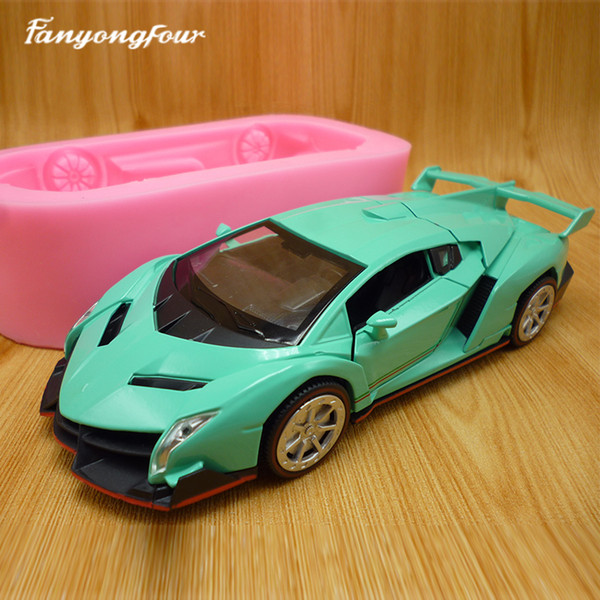 3D green sports car cake mold silicone mold chocolate gypsum candle soap candy mold kitchen baking free shipping