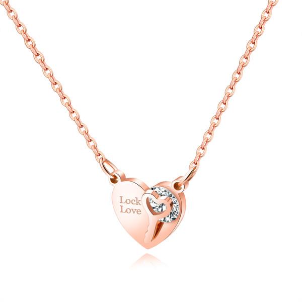 Rose Or Couleur Amour Serrure Colliers Pour Les Femmes En Acier Inoxydable Coeur / Claviers Sautoirs Pendentifs Colliers Femme Bijoux GX1387