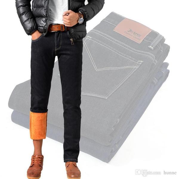 Wholesale-Mens Winter Warm Fleece Jeans/Slim Straight Thicken Stretch Denim Pants Trousers Size 32 33 34 35 36 38 40 MB16306