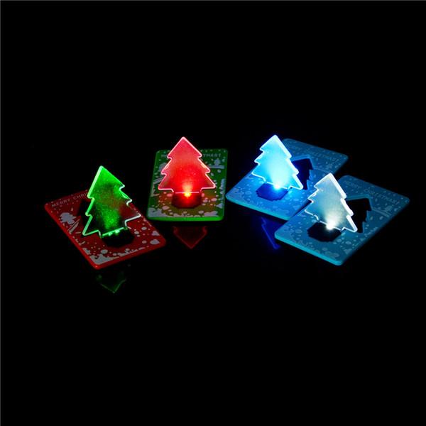 1 adet Noel Dekorasyon Cep Katlanır Noel Ağacı Şekli LED Işık Kredi Noel Kartı Işık Up Oyuncak Renk Rastgele
