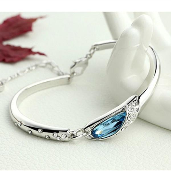 Pulseira De Luxo elegante Moda Banhado A Prata Colorido Pulseira De Cristal Austríaco Mulheres Gota De Água Pulseira de Presente Da Jóia