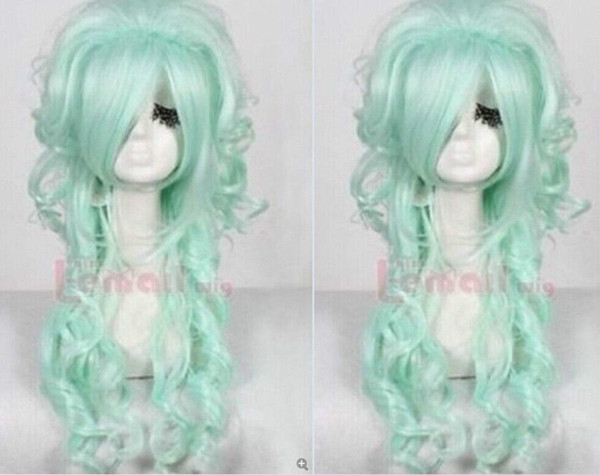 A13 Cos Harajuku fluffy wig oblique bangs long hair mint green Cosplay Full Wig