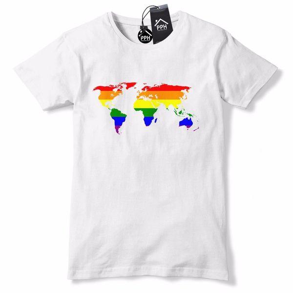 Mapa do mundo do Amor é Amor Orgulho Gay LGBT Lésbica Bi Trans Festival 674 Engraçado frete grátis Unisex Casual tee presente