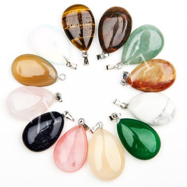 Assorted Natural Stone Water Drop Pendants Pendulum Crystal Fluorite Opalite obsidian Chakra Healing Reiki Beads 25*16.5mm
