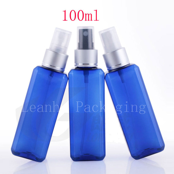 Whole ale 100ml x 50 quare blue luxury mi t pray perfume bottle for co metic packaging 100cc pla tic container prayer