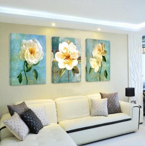 Chinese rose peônia begonia flores diy art retrato da parede do óleo 3 painel moderna cópias da lona pintura de decoração para casa