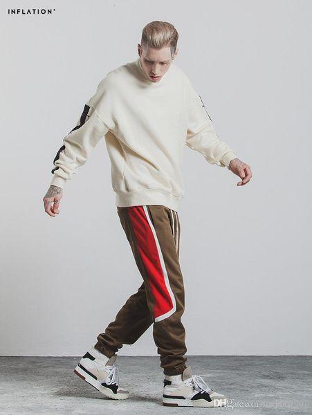 Kanye West Pablo Season 4 Lost Mind Sweatpants CALABASAS Active striped Pants Men loose Joggers Black Red Elastic Long Pants for Man 00lll