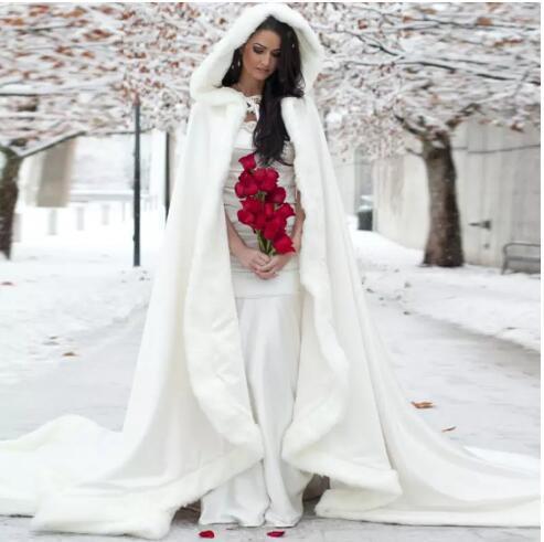 Elegant Cheap 2016 Warm Bridal Cape ivory White Winter Fur Coat Women Wedding bolero Jacket Bridal Cloaks Wedding Coat bridal winter coat