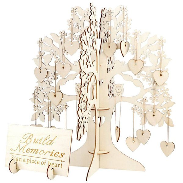 Wedding Guest Book Tree Wooden Visit Sign Guest Book Hearts Pendant Drop Ornaments for Wedding Party Decoration Supplies DIY Set