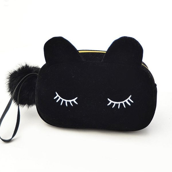 ISKYBOB Portable Cartoon Cat Coin Storage Case Travel Makeup Flannel Pouch Cosmetic Bag Organizer Pink Black Blue 3 Colors