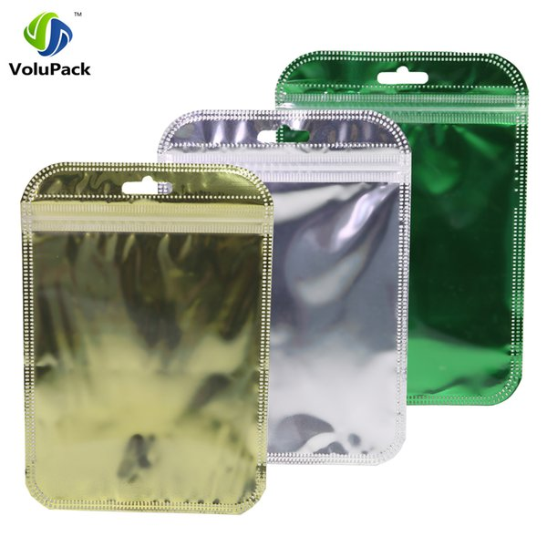 10x15cm(4x6in) Clear & Shiny Foil Gold Silver Green Hang Hole Zip Bags 100pcs Flat Gift Zip Lock Package Bag Wholesale