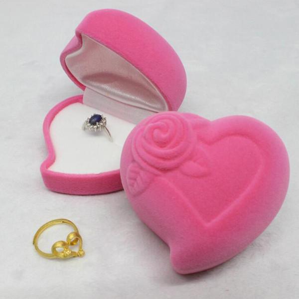 Neue Rosa Herzform Samt Engagement Ehering Box Schmuckschatullen Rose Blume Design Geschenke Halter