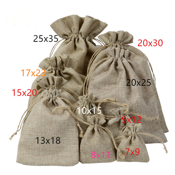 top popular 1000pcs jute gift pouch several sizes antique bag retro jewelry drawstring bag packaging wedding candy bag can be printed logo By DHL 2020