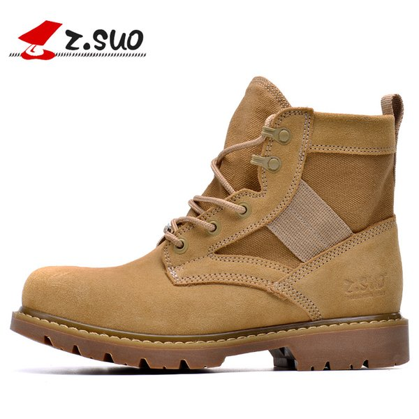New Z. Suo  Classic Style Men's Hiking Shoes Top Quality Army Boots High Top Cow Suede + Canvas Desert Boots